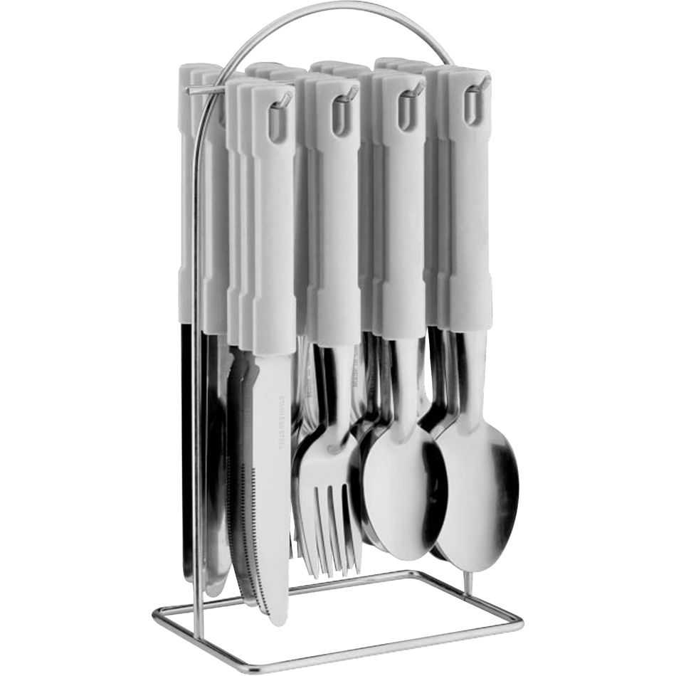 24 pcs cutlery dinner set forks tea spoons with stainless steel metal stand rack ebay - Knives and forks sets ...