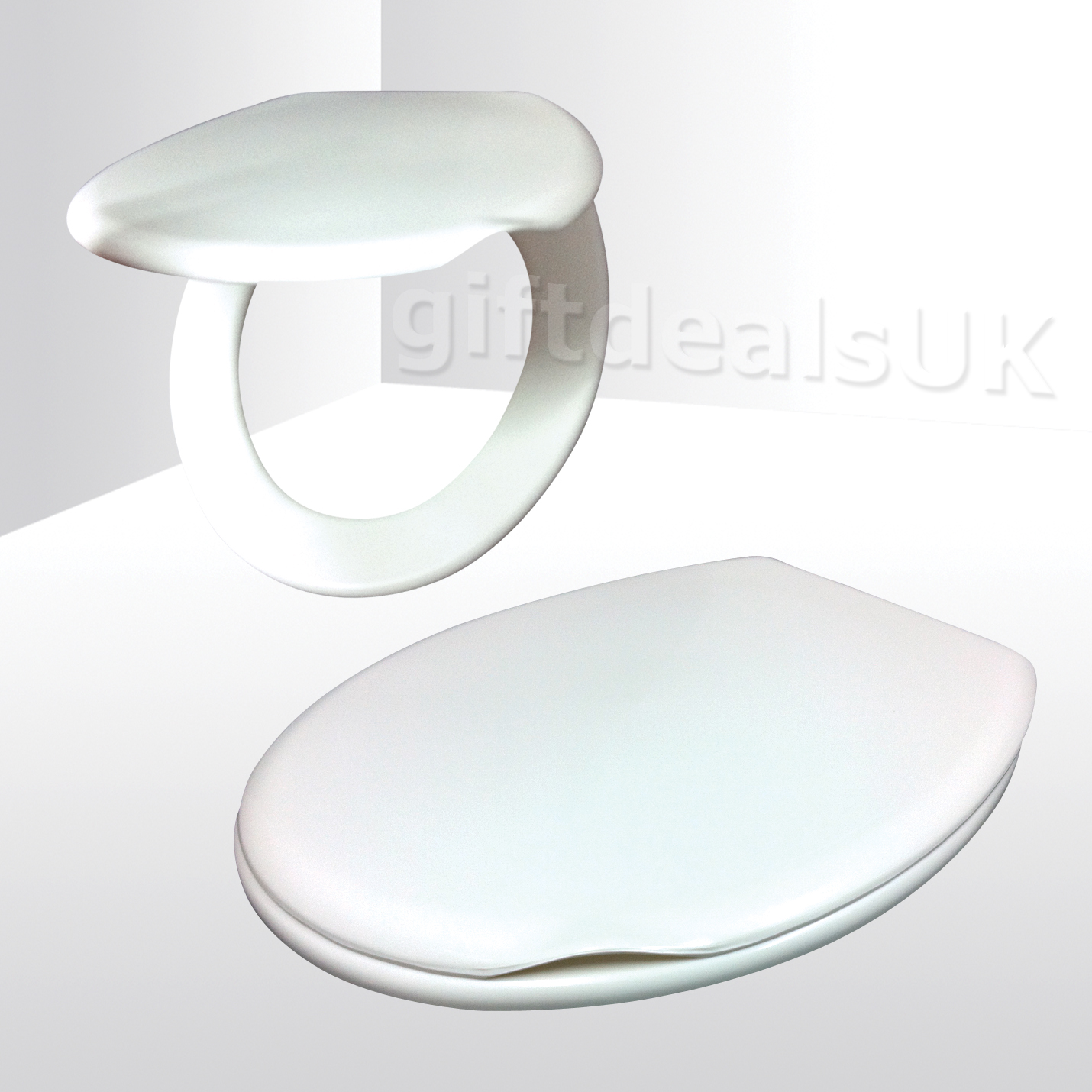 18 INCH WHITE PLASTIC TOILET SEAT HINGED EASY CLEAN PRIMA MODERN DESIGN