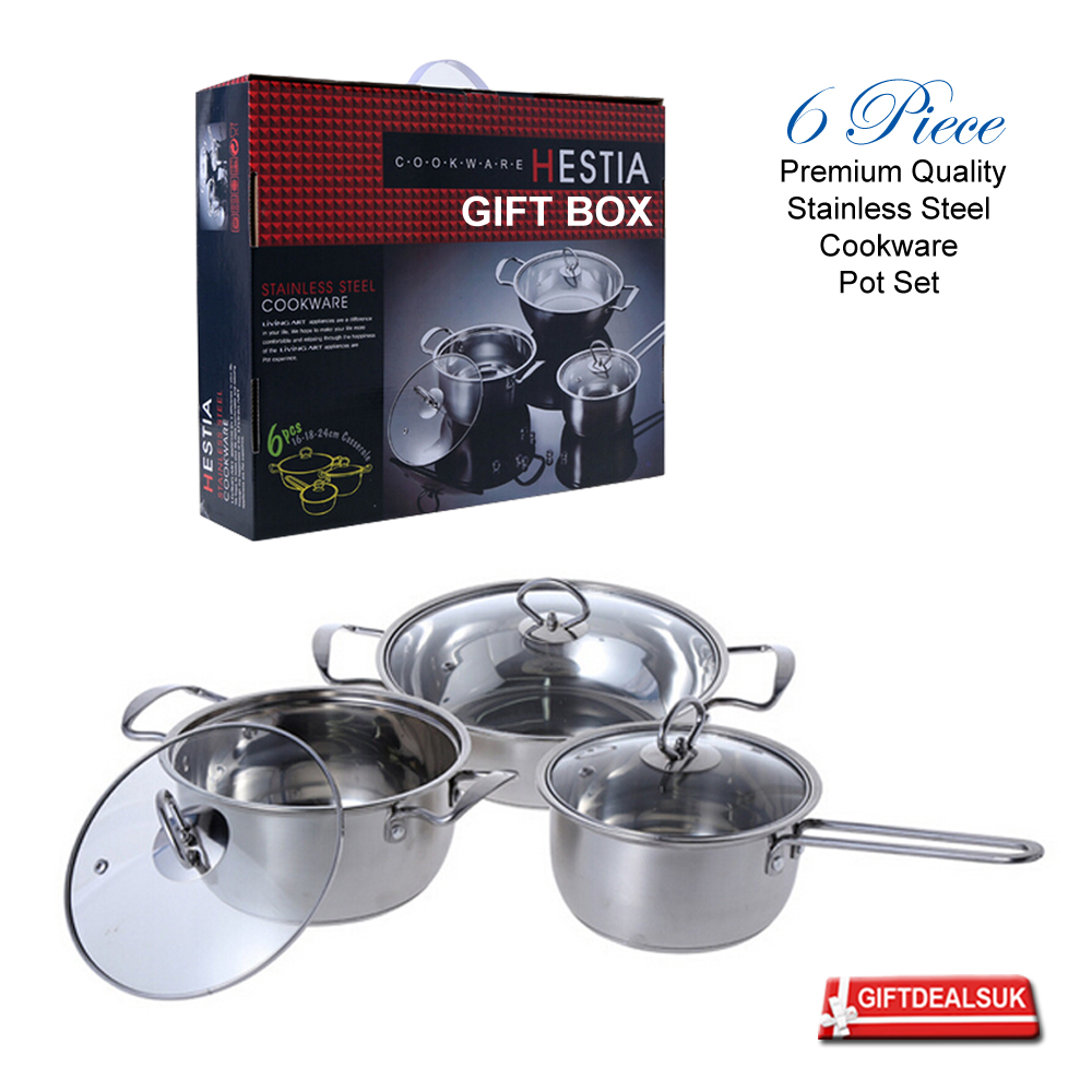 6pcs induction hob stainless steel glass lid cookware. Black Bedroom Furniture Sets. Home Design Ideas
