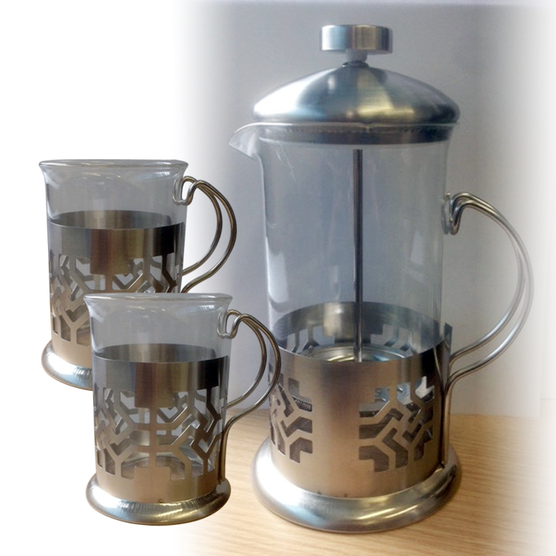 3 5pc steel glass cafetiere french press tea coffee maker kettle cup plunger set ebay. Black Bedroom Furniture Sets. Home Design Ideas