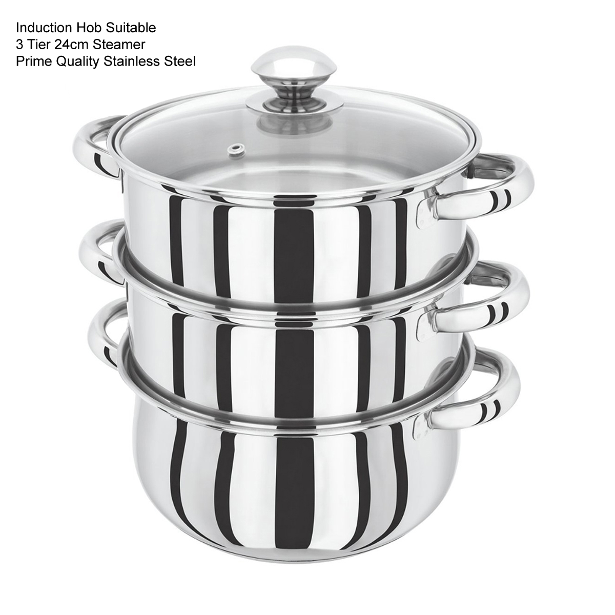 s s steel 3 and 4 tier induction hob steamer cookware pot. Black Bedroom Furniture Sets. Home Design Ideas
