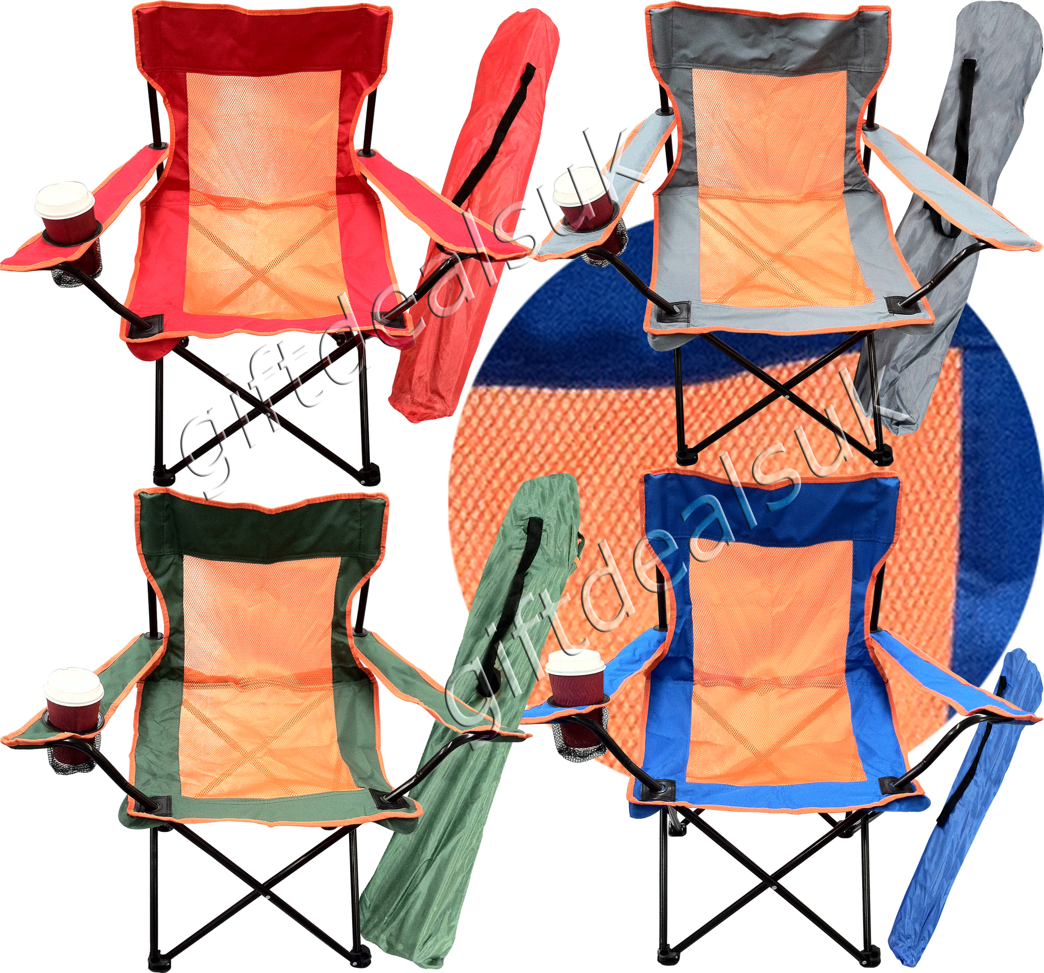 PORTABLE FOLDING CAMPING DIRECTORS CHAIR CUP HOLDER 4 COLOUR HEAVY DUTY CHAIRES