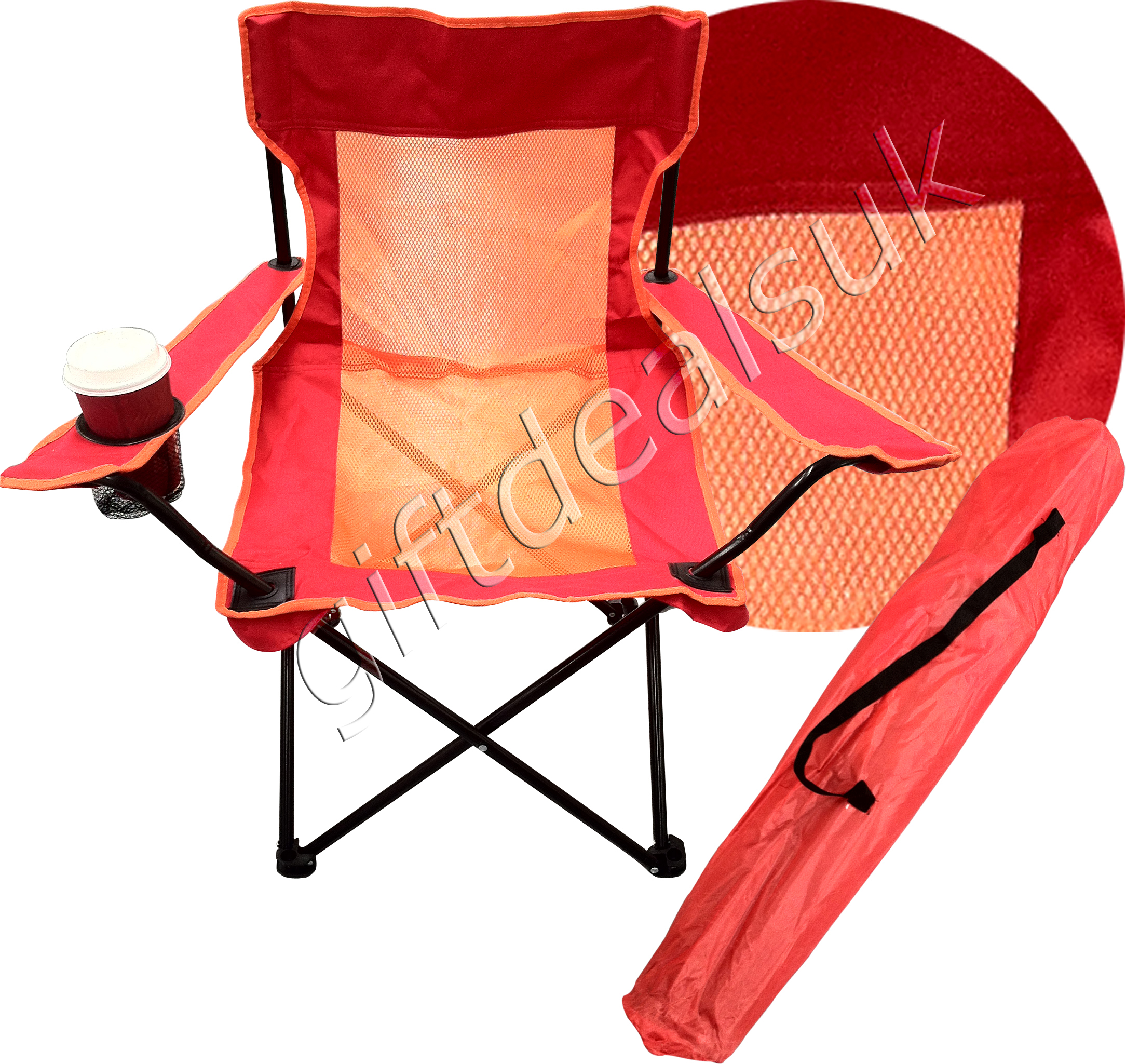 PORTABLE FOLDING CAMPING DIRECTORS CHAIR CUP HOLDER 4 COLOUR HEAVY DUTY CHAIR