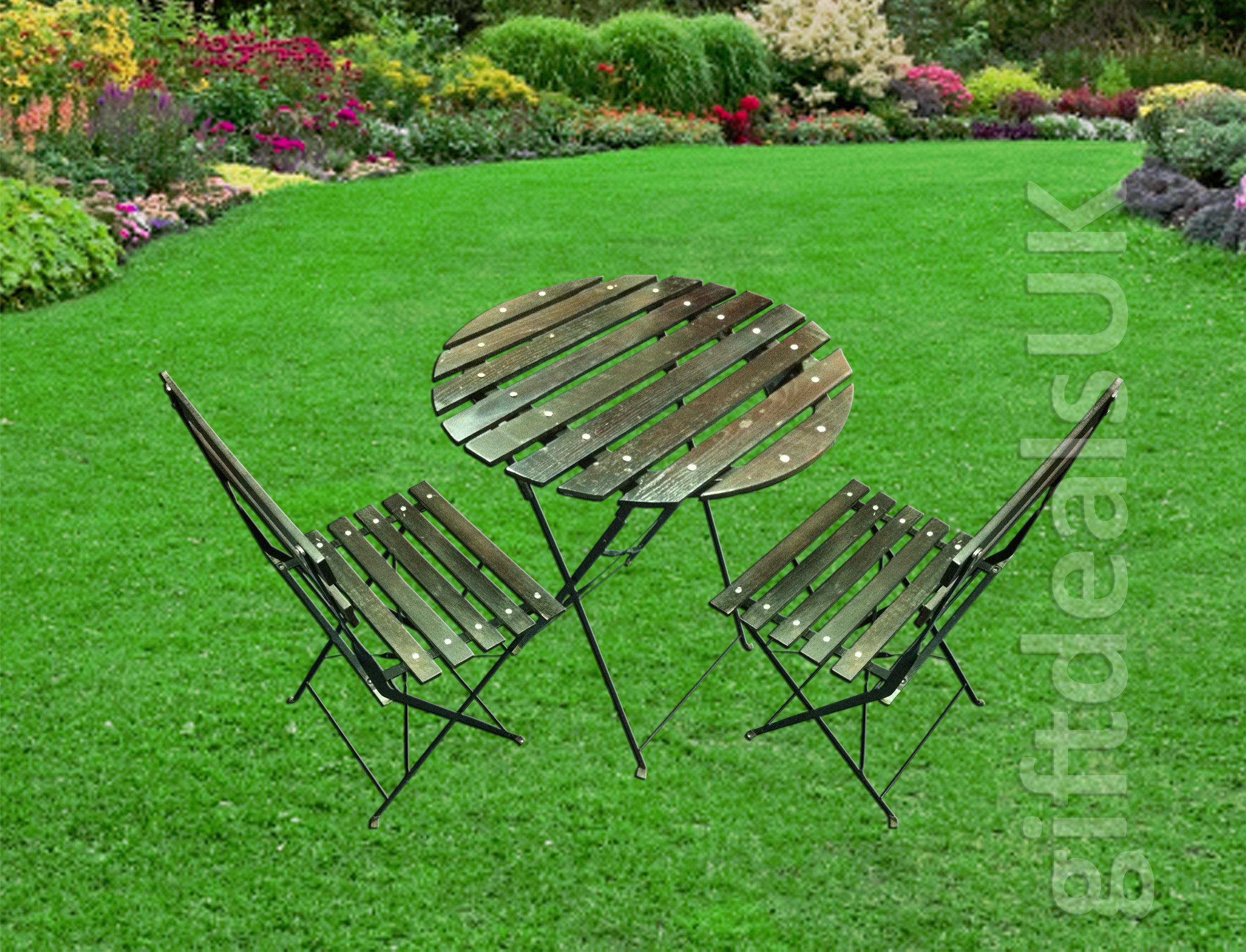 new garden patio round wooden table two folding chair set coffee