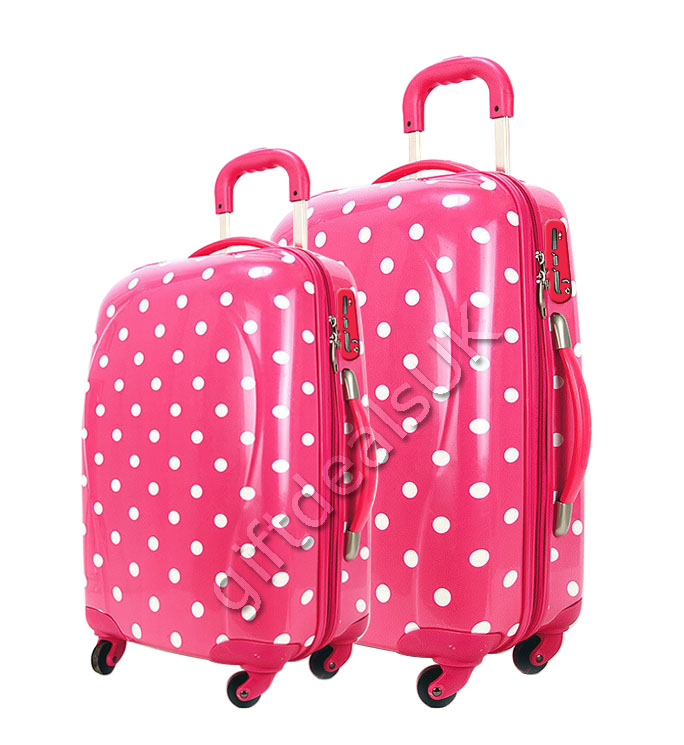 "NEW 2PCS PINK POLKA DOT TRAVEL CASE 20"" 24"" SUITCASE SET ..."