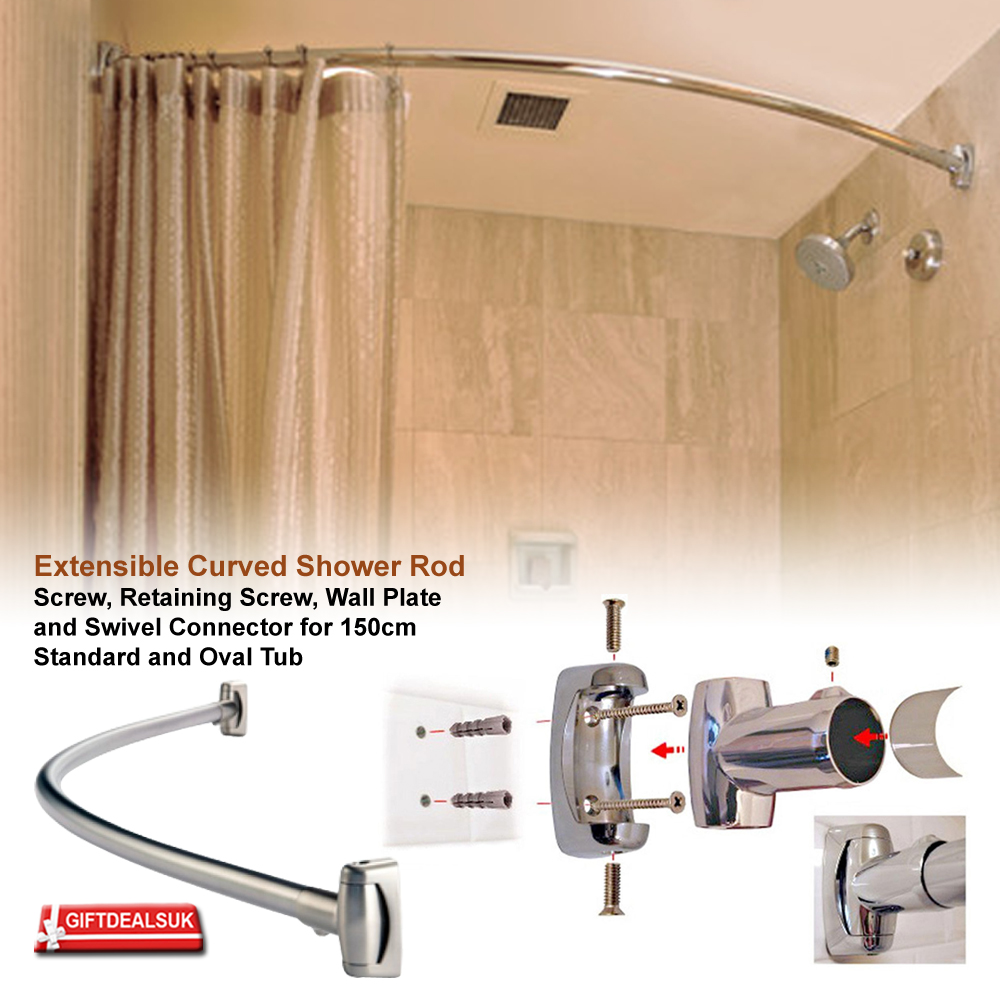 Stainless Steel Extensible Curved Oval Bath Tub Shower
