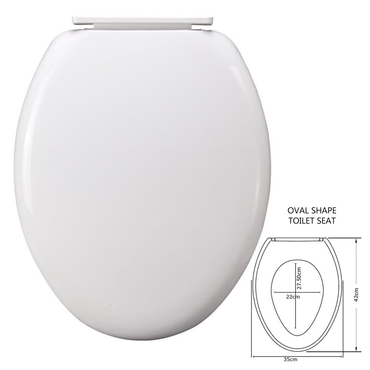 NEW WHITE COLOUR TOILET SEAT LID SOFT OPEN CLOSE EASY CLEAN HINGED BATHROOM W
