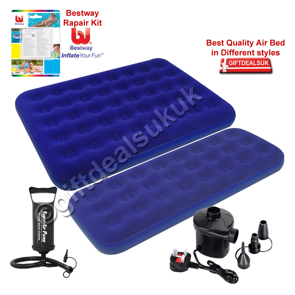 Single Double Inflatable Pump Flocked Air Bed Camping