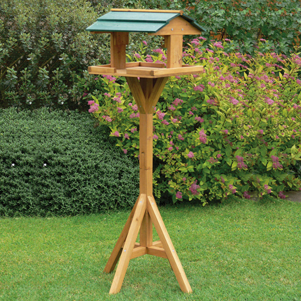 Traditional garden wooden bird feeder feeding table free for Types of birdhouses for birds