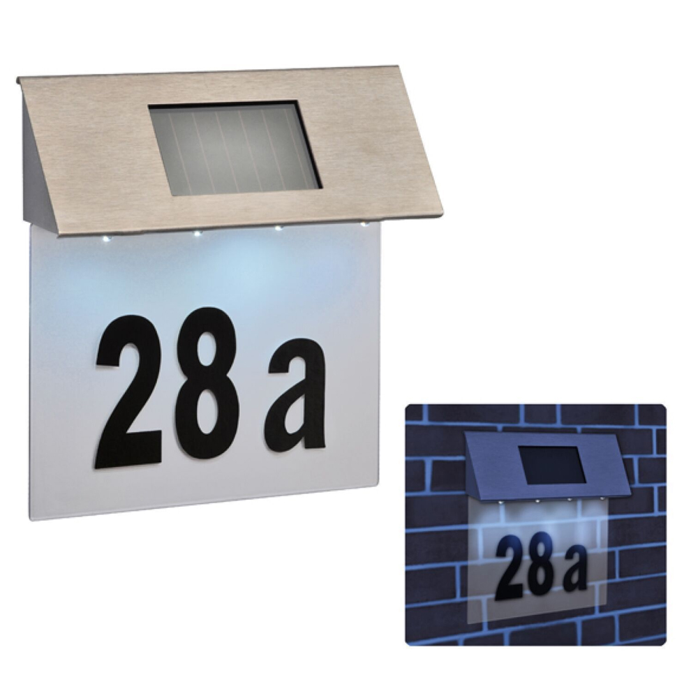 stainless steel 4 led solar powered house door number outdoor wall paque light ebay. Black Bedroom Furniture Sets. Home Design Ideas