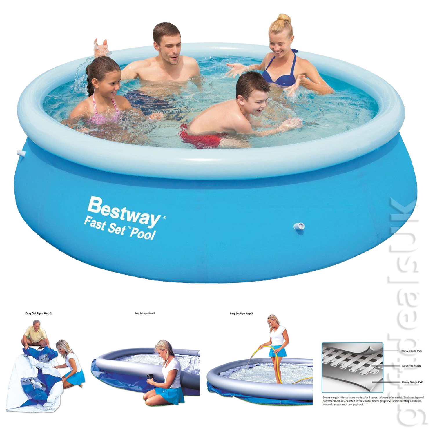 Bestway 10ft clear fast set inflatable swimming paddling for Small paddling pool