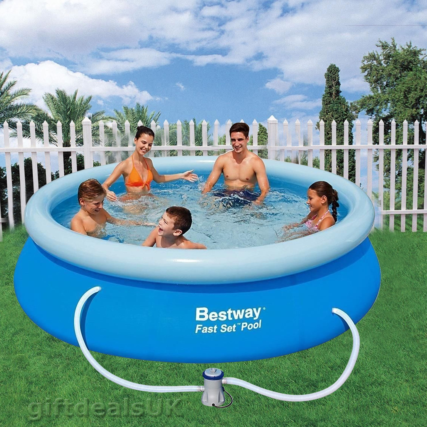 Bestway 12ft inflatable fast set swimming pool round for Small paddling pool