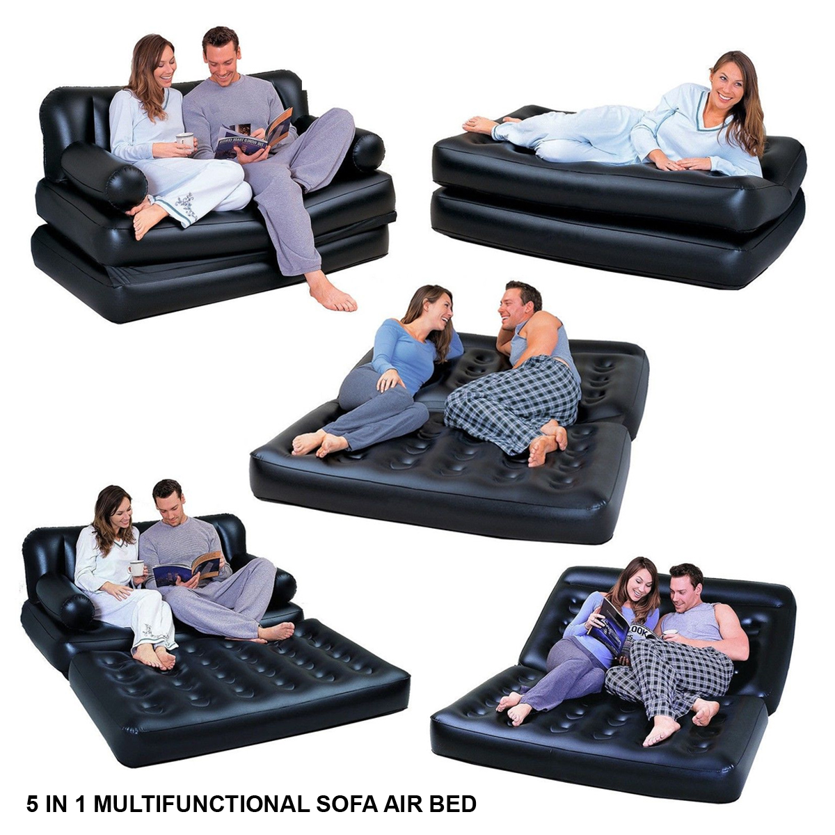 Inflatable Sofa Air Bed Lounger: MULTI-FUNCTION 5 IN1 INFLATABLE DOUBLE AIR BED LOUNGER