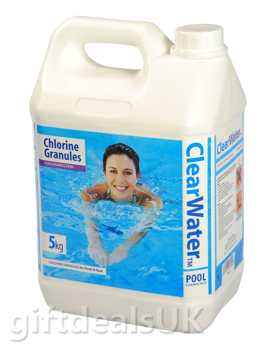 Clearwater 5kg chlorine granules for pools spas and hot tub disinfectant ch0004 for Is chlorine in swimming pools harmful
