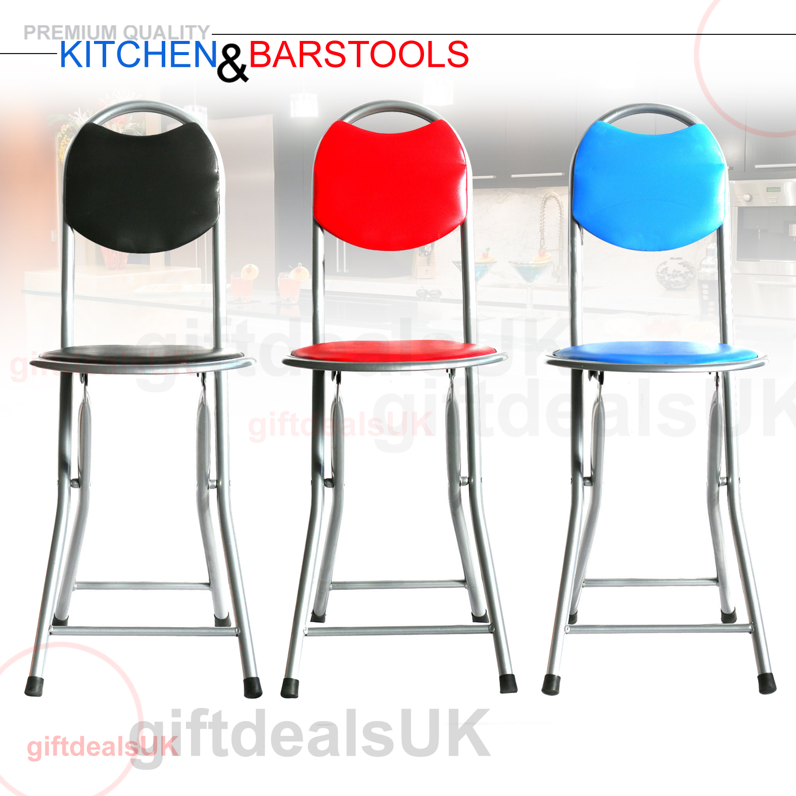 Faux Padded Contemporary Style Folding Kitchen Stools