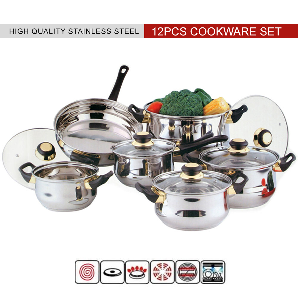 12pcs high quality stainless steel pan pot kitchen for Gambar kitchen set high quality