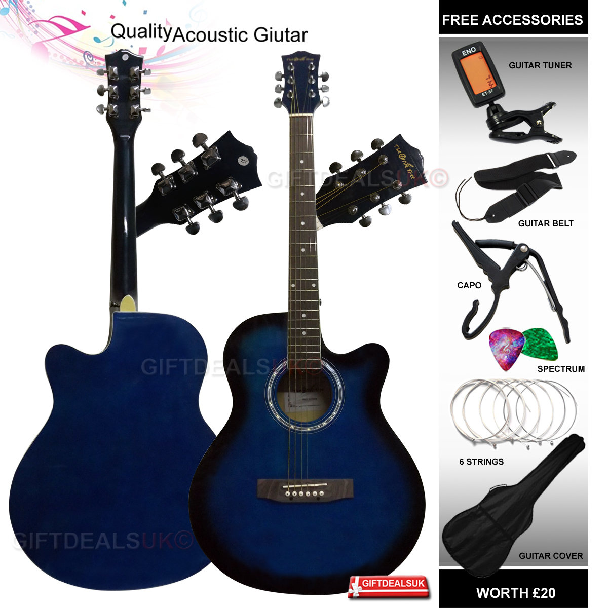 """38-40"""" 4/4 FULL SIZE 6 STRING ACOUSTIC GUITAR PACKAGE PACK BOYS GIRLS MUSIC FUN"""