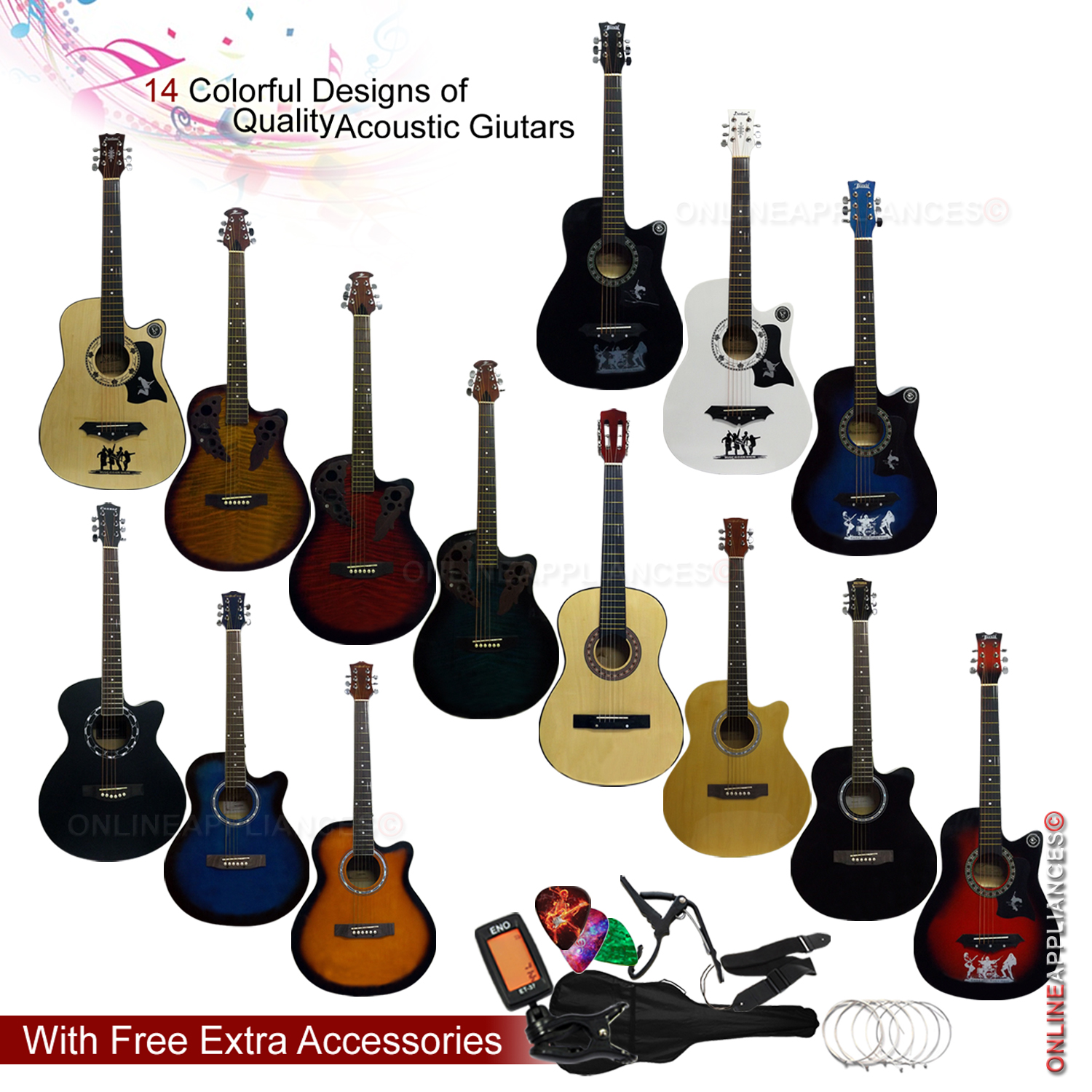 4 4 size 38 40 classic 6 strings acoustic guitar package pack adults boys girls denny. Black Bedroom Furniture Sets. Home Design Ideas