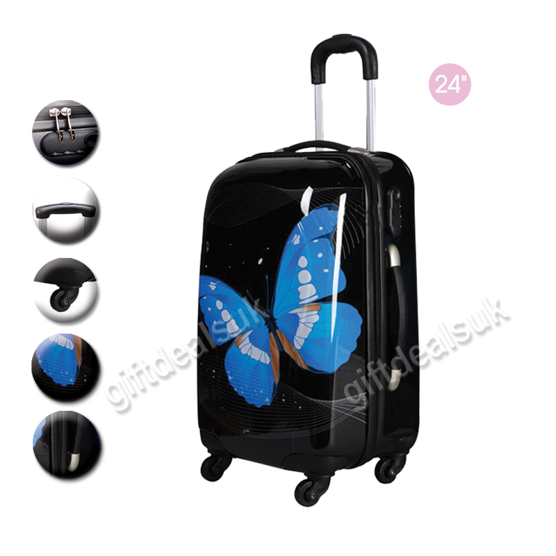 2 PCS HEAVYDUTY BUTTERFLY TRAVEL HOLIDAY SUITCASE LUGGAGE ...