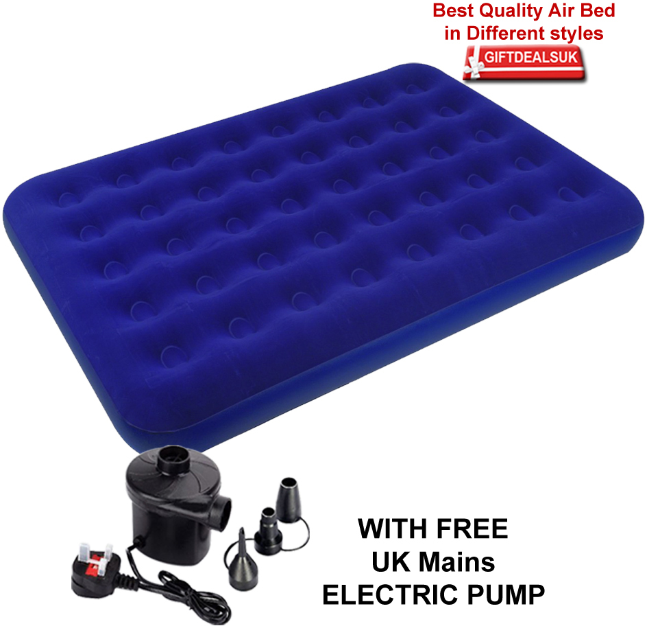 single double inflatable pump flocked air bed camping. Black Bedroom Furniture Sets. Home Design Ideas