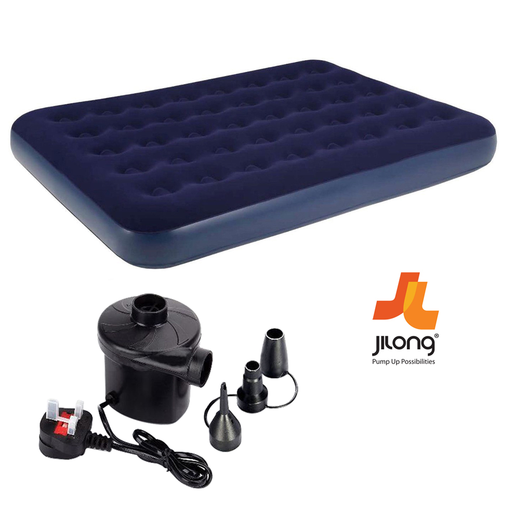 JILONG-SINGLE-DOUBLE-INFLATABLE-FLOCKED-AIR-BED-CAMPING-