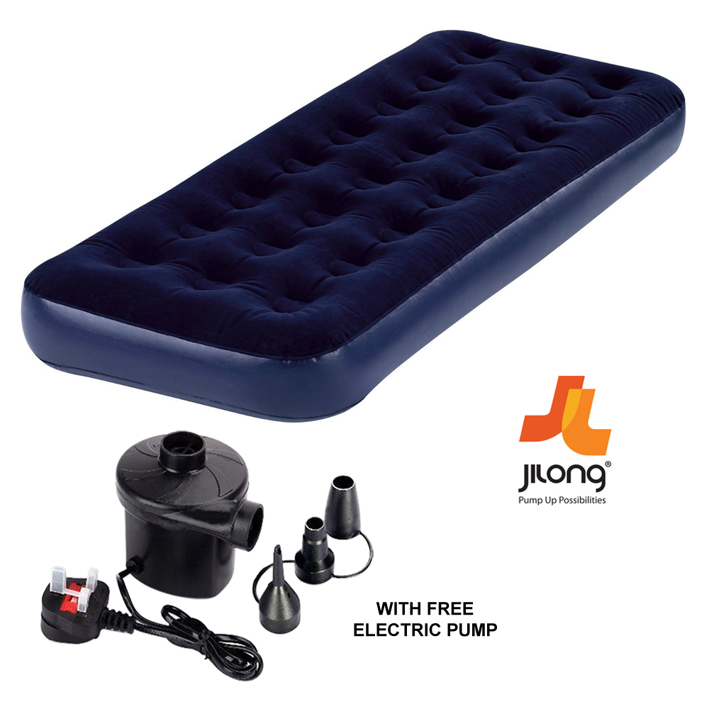 new jilong single inflatable flocked air bed camping. Black Bedroom Furniture Sets. Home Design Ideas