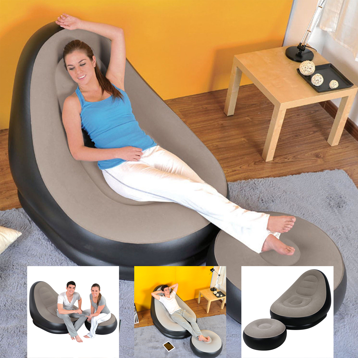 Inflatable Sofa Review: JILONG DELUXE INFLATABLE LOUNGE LOUNGER CHAIR WITH OTTOMAN
