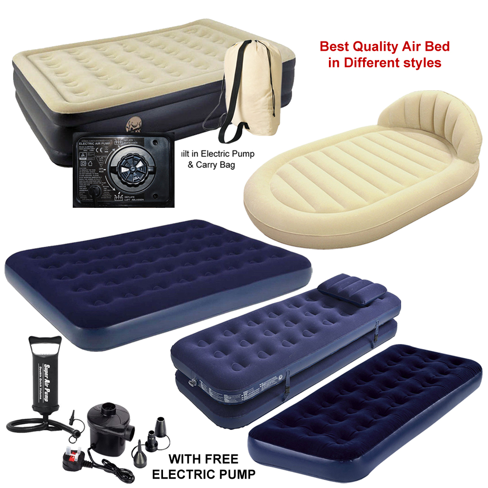 NEW JILONG SINGLE / DOUBLE INFLATABLE FLOCKED AIR BED CAMPING MATTRESS WITH  AIR PUMP