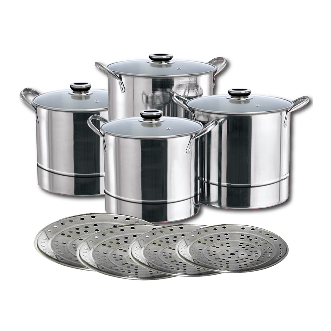induction safe 4pcs stainless steel stock pot kitchen