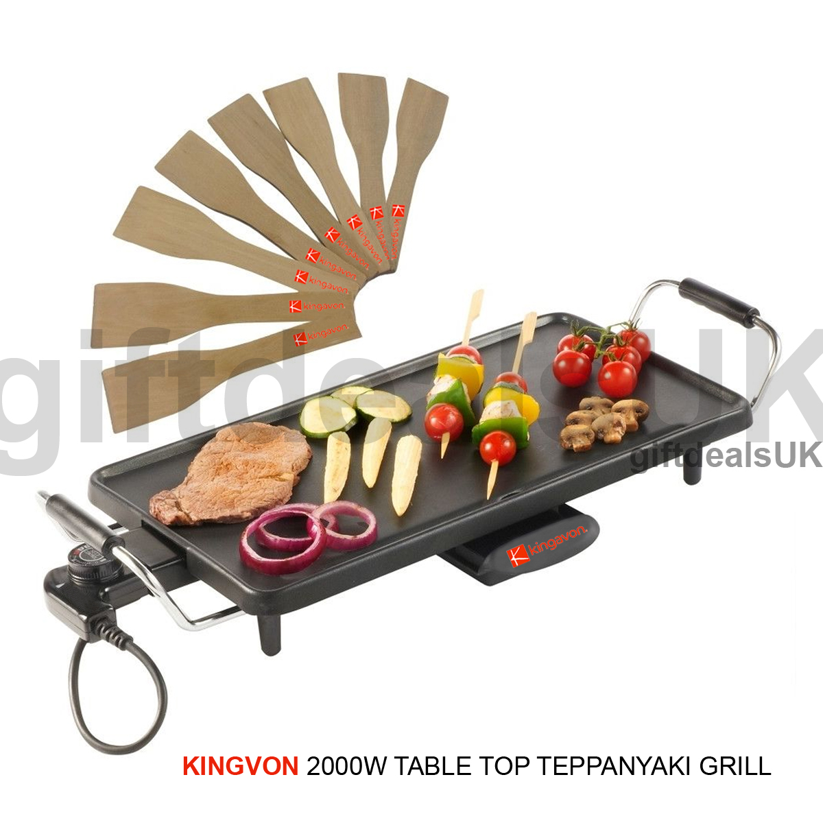 2000W ELECTRIC TEPPANYAKI TABLE TOP GRILL GRIDDLE BBQ HOT