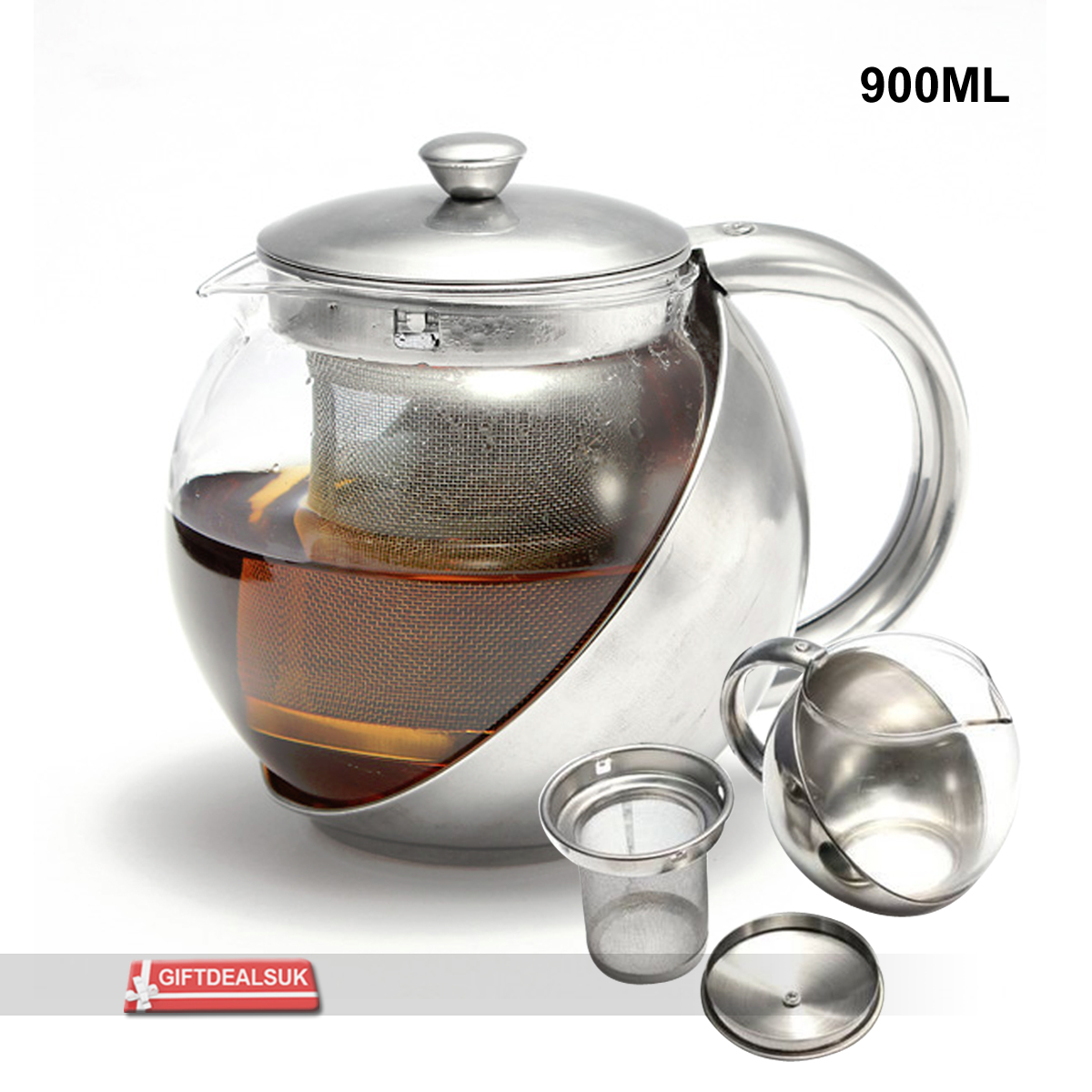 900 1000ml Stylish Stainless Steel Glass Tea Pot Loose Tea Leaf Infuser Teapot Ebay
