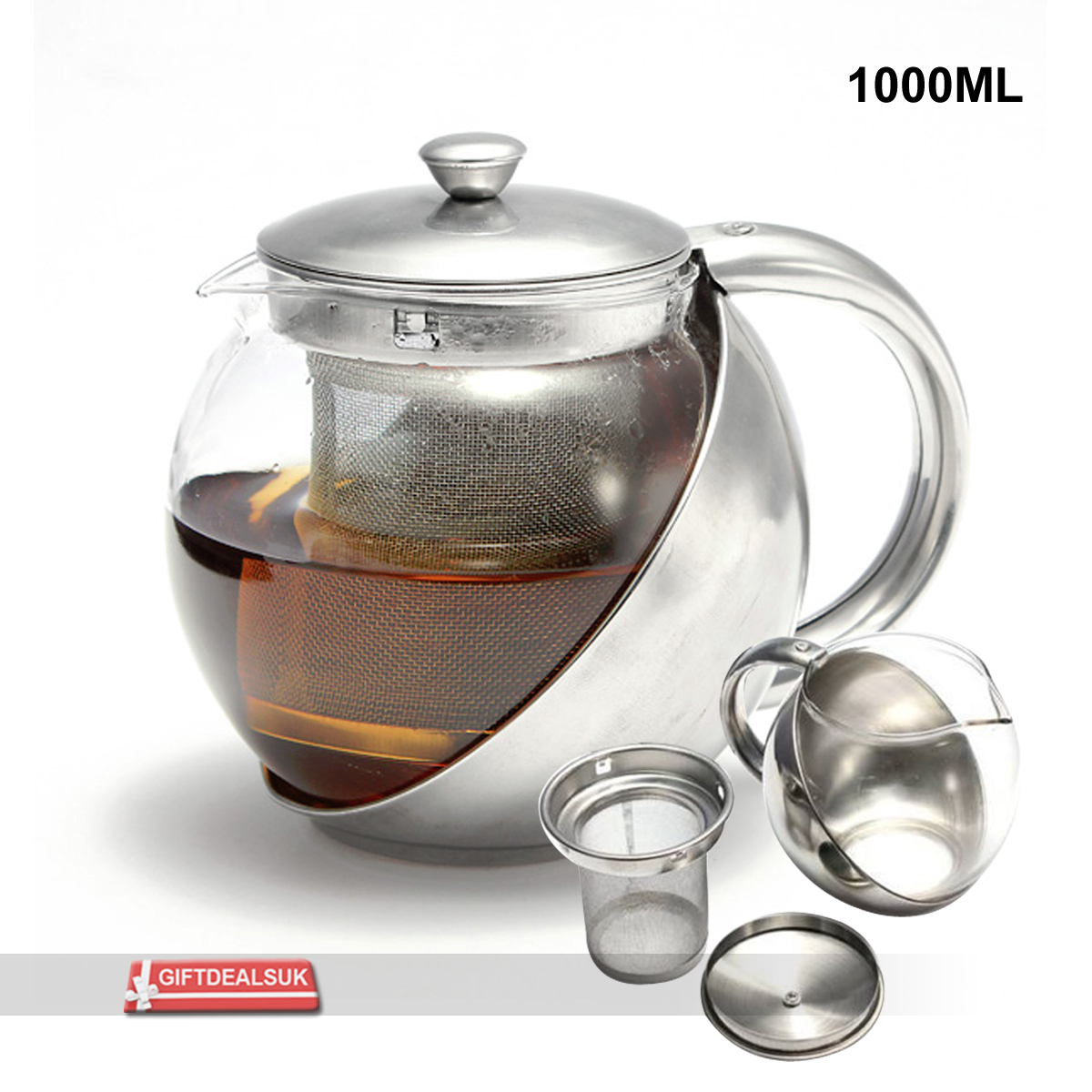 900 1000ml stylish stainless steel glass tea pot loose. Black Bedroom Furniture Sets. Home Design Ideas