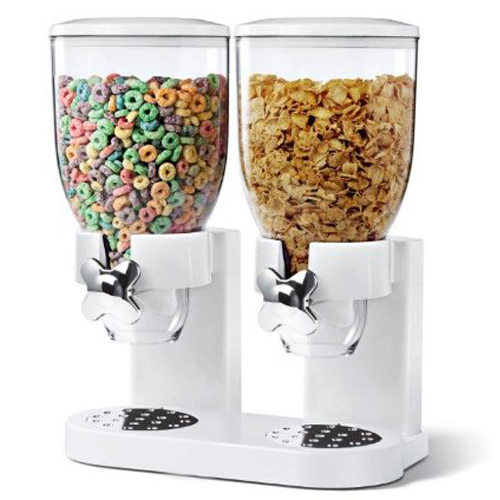 Double Clear Pasta Cereal Dispenser Dry Food Storage