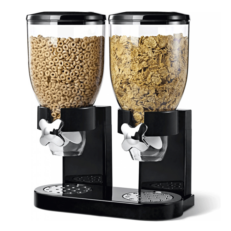 double cereal dispenser dry food storage container dispenser machine 2 colours ebay. Black Bedroom Furniture Sets. Home Design Ideas