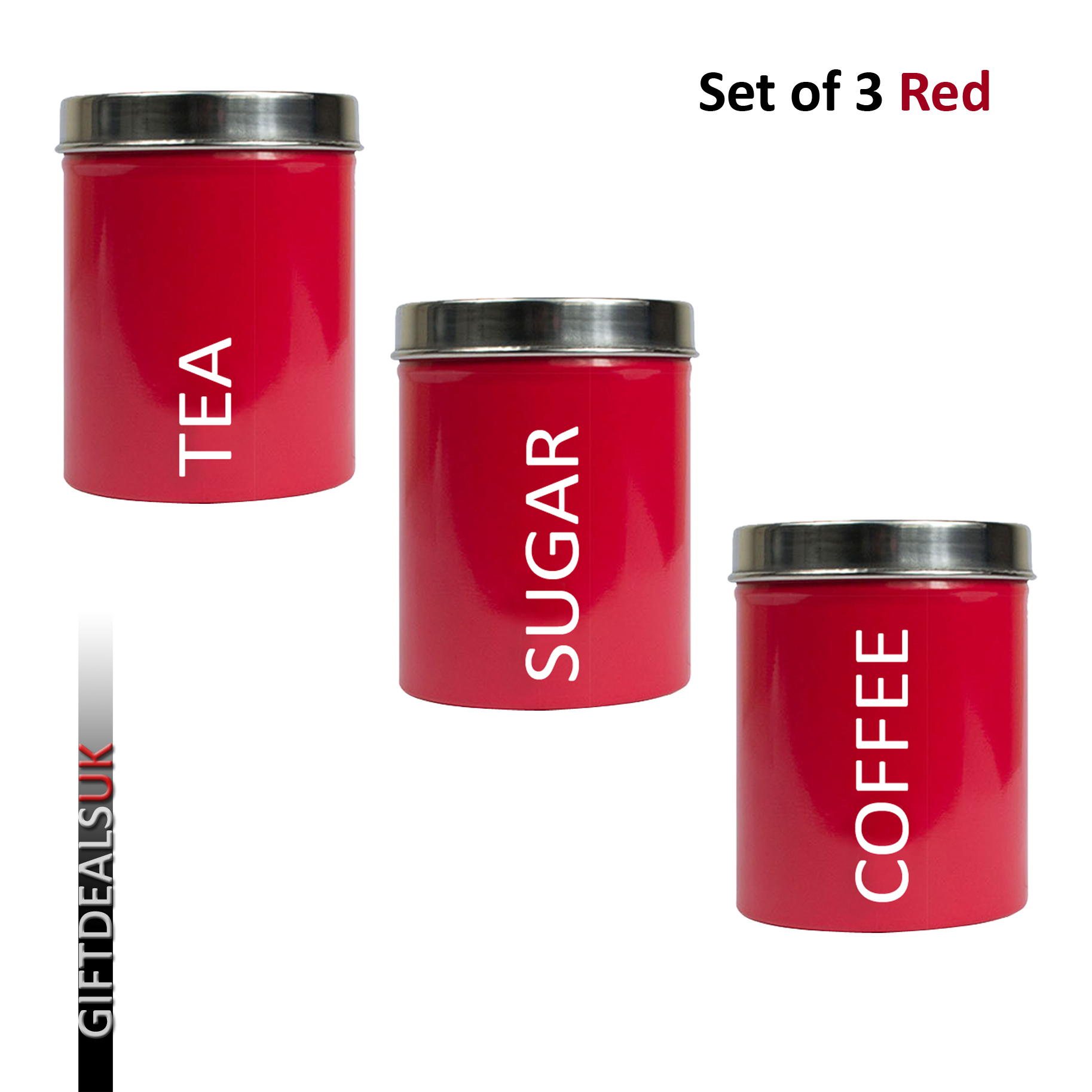 set of 3 pcs kitchen tea coffee sugar storage canisters