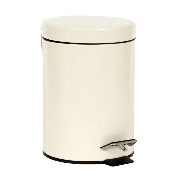 SMALL STAINLESS STEEL CREAM PEDAL BIN KITCHEN BATHROOM TOILET WASTE