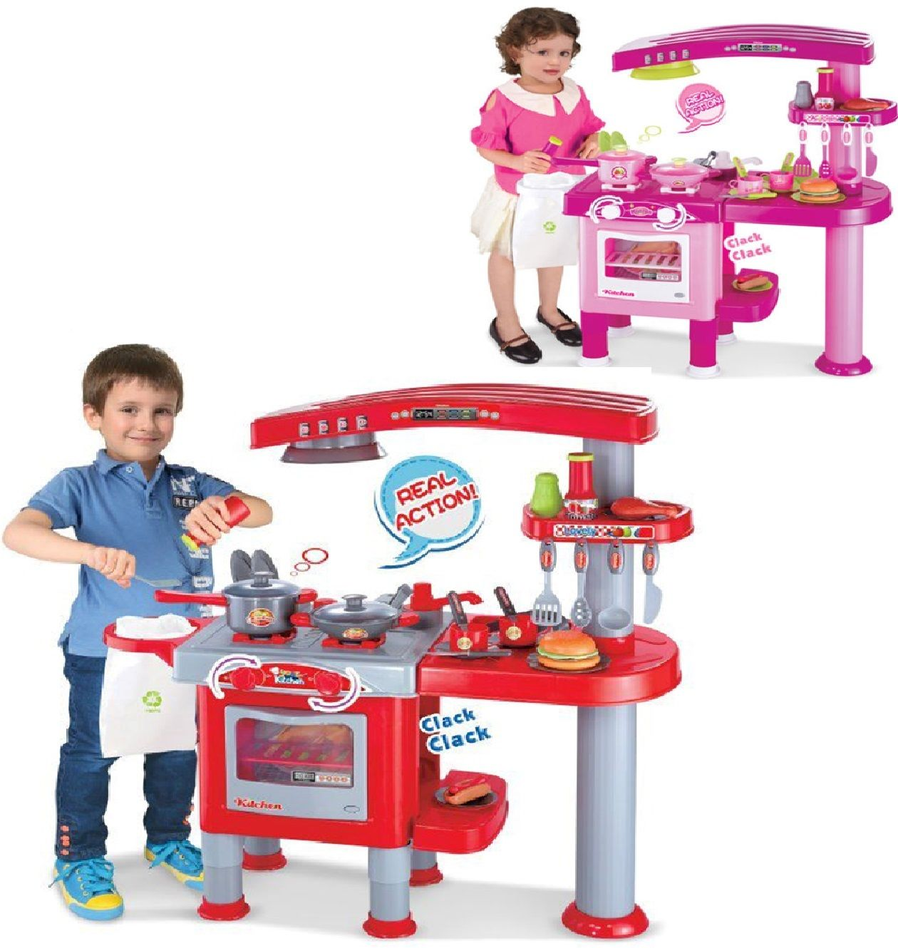 Large Kitchen Small Kids Childs Playset Role Play Food Cooker Pans Toy Xmas