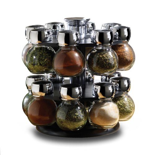 new 16 piece revolving glass spice jar rack set kitchen home cooking chef food