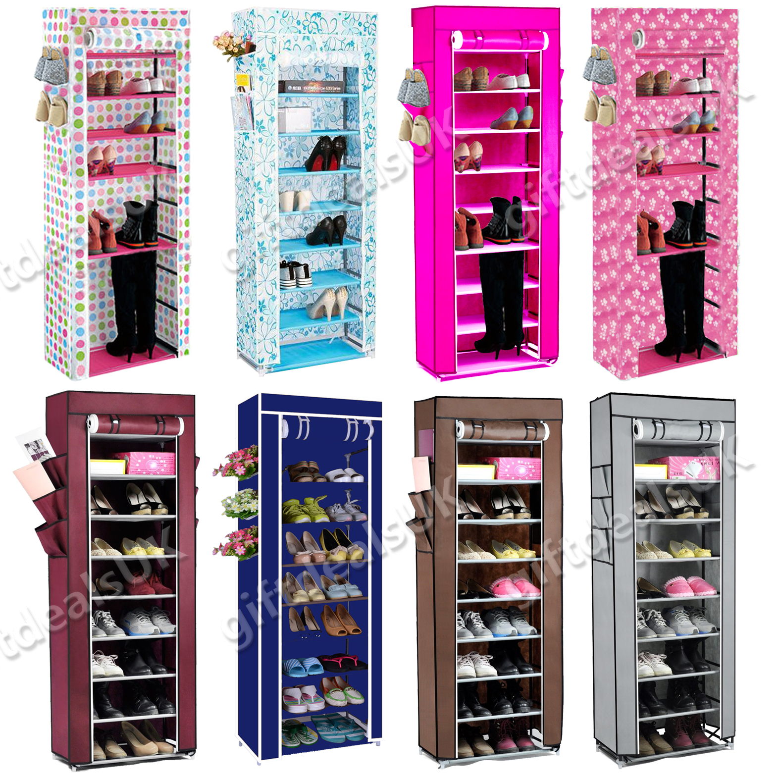10tier canvas fabric shoes rack shoe storage cabinet rail for Organiser un stand