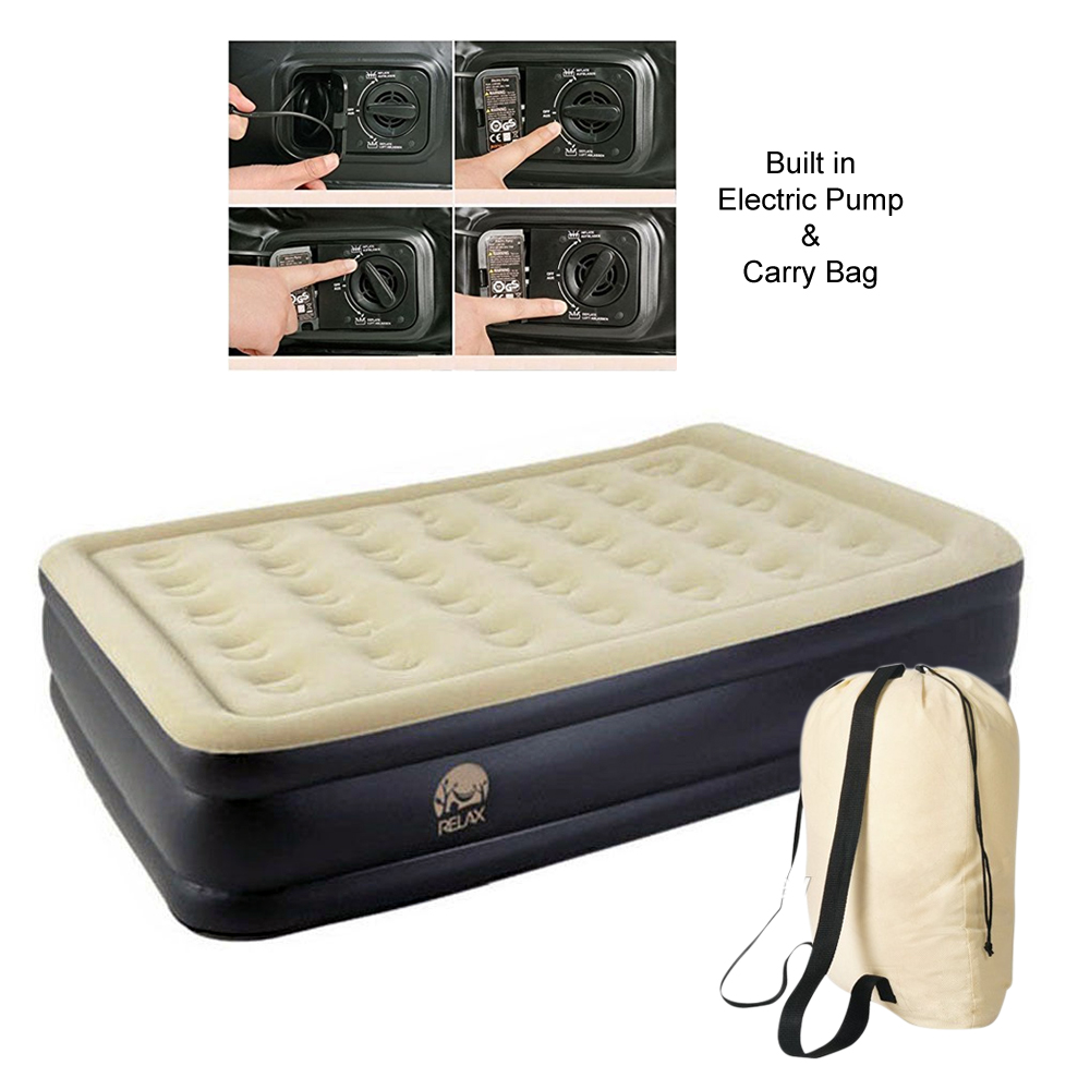 NEW RELAX INFLATABLE HIGH RAISED AIR BED MATTRESS WITH ...